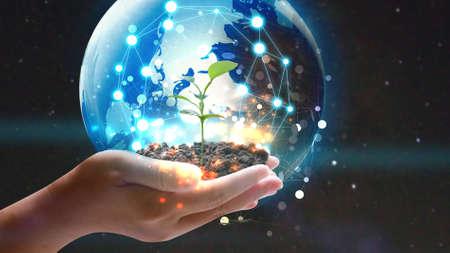 Ręka trzyma glob z zielonych roślin. Koncepcja przyjazna dla środowiska