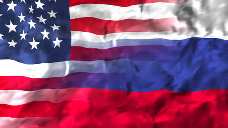 United States of America and Russia flag.