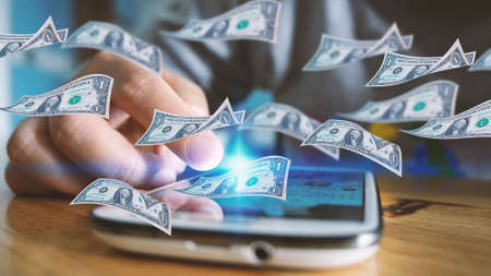 Make money on the Internet. Financial concept Фото со стока