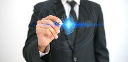 fingerprint to identify personal, security system concept