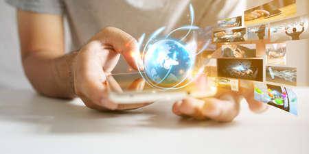 Hand using smartphone connecting, Social media concept.                                 Фото со стока