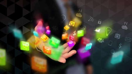 Businessman holding social icon. Social media concept