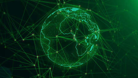 Network with nodes connected background. Global network concept. Фото со стока
