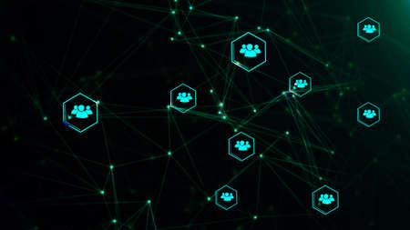 Network with nodes connected background. social network concept