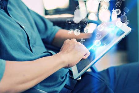 Businessman using digital tablet,hand touching screen on digital tablet