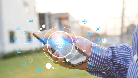 hand touch screen smartphone. World connected, social network concept