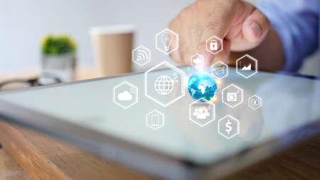 hand presses social media icons on screen digital tablet Stock fotó