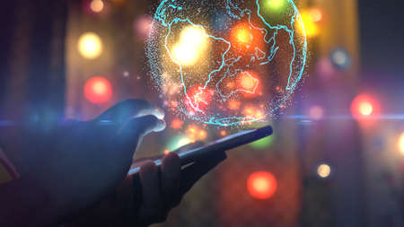 Hand using smartphone connecting, Social network concept