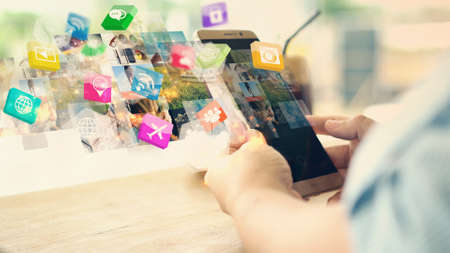 Hand using smartphone connecting, Social media concept  Stockfoto