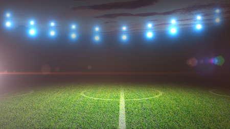 Soccer field and bright spotlights.
