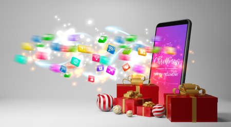 Smartphone with gifts. Christmas gift giving concept,3d rendering