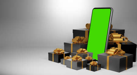 Smartphone with green screen. Christmas gift giving concept,3d rendering Zdjęcie Seryjne
