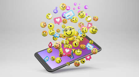 Smartphone with cartoon emoticons icons for social media. 3d rendering