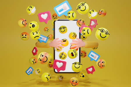 hand embracing smartphone with cartoon emoticons icons for social media. 3d rendering