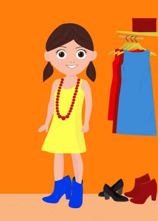 Kleines M�dchen in Mutter s Schuhe auf einem wei�en Hintergrund Illustration
