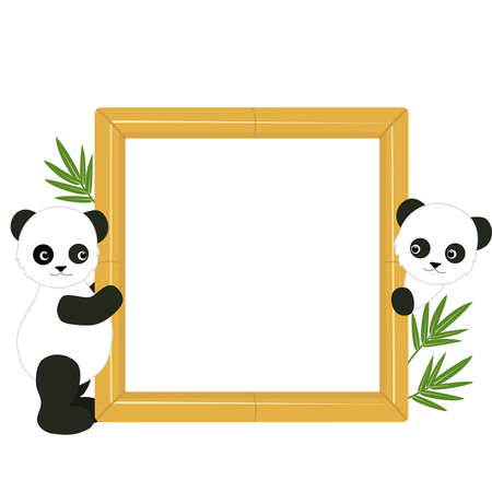Children s frame with the pandas and bamboo leaves Vector