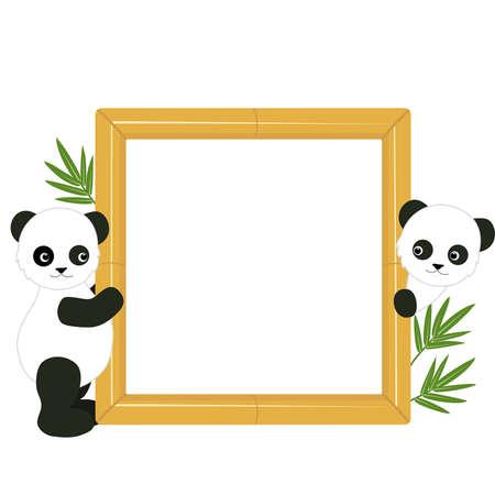 Kinder s Rahmen mit den Pandas und Bambus-Bl�tter