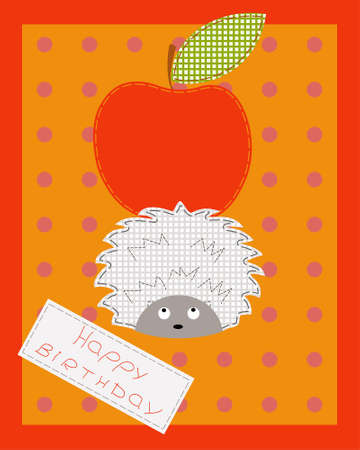 Baby card with a hedgehog and apple