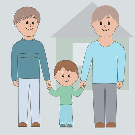 Gay couple holding his son by the hand Vector