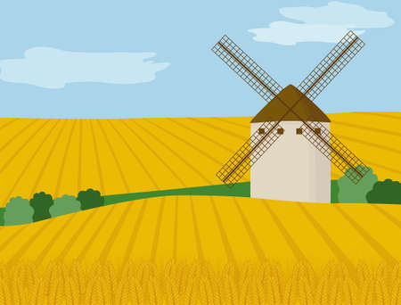 Landscape with windmill and wheat field