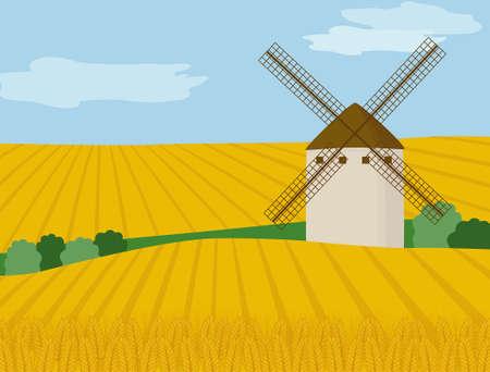 Paysage avec moulin à vent et champ de blé