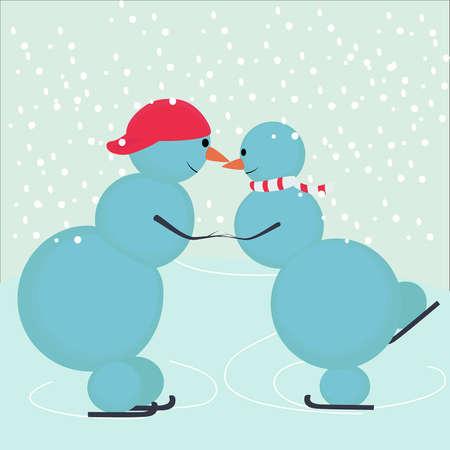 Love snowmen skate hand in hand Stock Vector - 16331965
