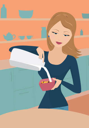 Girl pouring milk in cereal Illustration