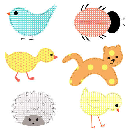 applique: Set of young animals on a white background