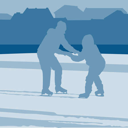 Mother teaches a child to ride on skates Stock Vector - 16461425