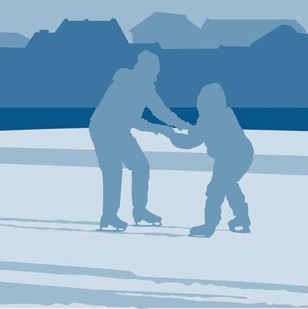 Mutter lehrt ein Kind auf Schlittschuhen fahren Illustration