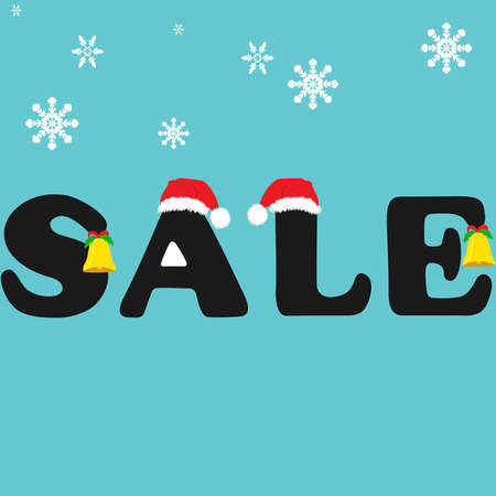 Christmas sales  On letters to hang Christmas bells Vector
