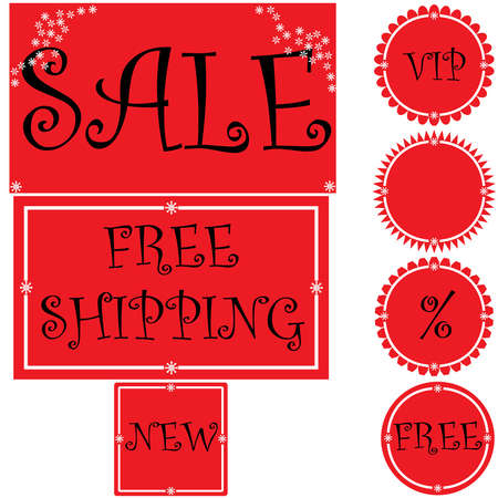 Set of red signs for christmas and new year Stock Vector - 16461417