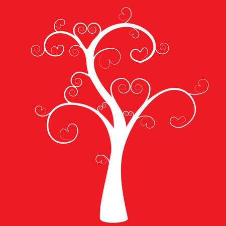Silhouette of a tree with hearts on a red background