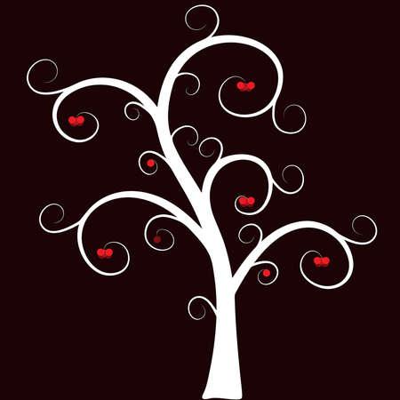 Stilisierte Baum mit Fr�chten auf einem dunklen Hintergrund