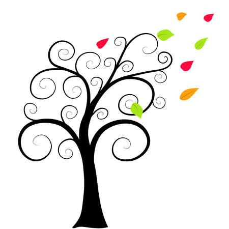 Herbst Baum Silhouette auf wei�em Hintergrund Wind bl�st die Bl�tter Illustration