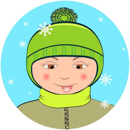 Boy mit Schneeflocke auf der Zunge Illustration