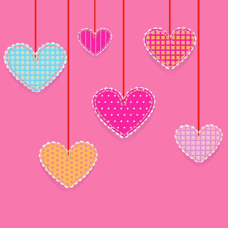set of Valentines Day, hanging hearts, patchwork Illustration