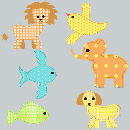 set of young animals Vector