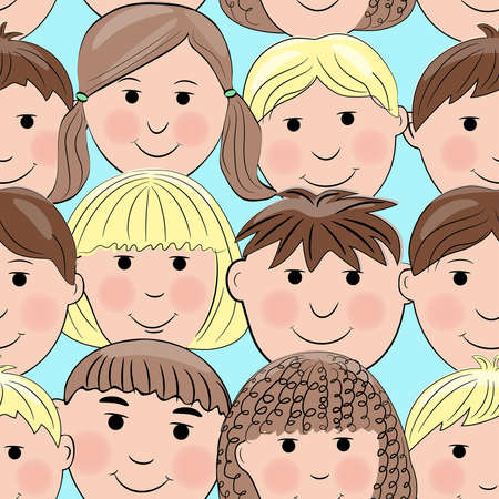 Seamless pattern with smiling faces Illustration