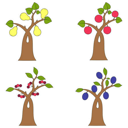 collection of fruit trees Stock Vector - 18634158