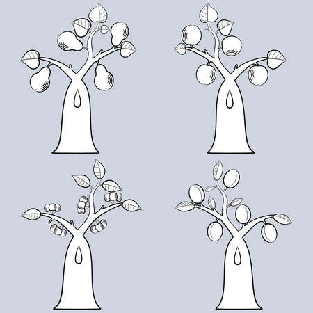 collection of fruit trees Illustration