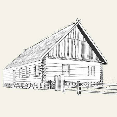 engraving, the old farmers house Illustration