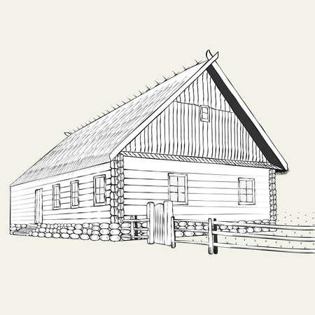Gravur, das alte Bauernhaus Illustration