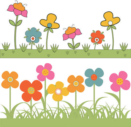 set of backgrounds grass and stylized flowers