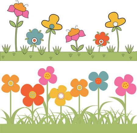 Set von Hintergr�nden Gras und stilisierten Blumen