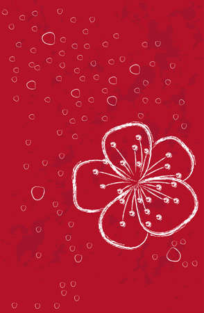 red background with flower