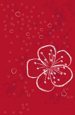rotem Hintergrund mit Blumen