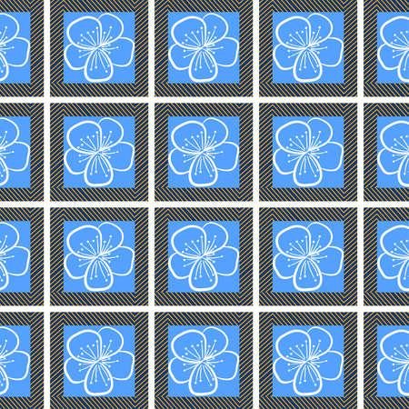 nahtloser Hintergrund mit Konturen Blumen