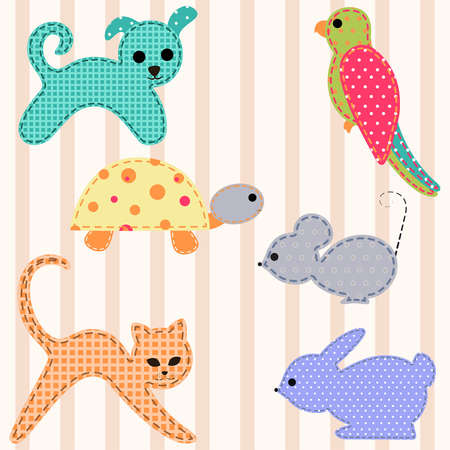 patchwork pattern: Set of young animals