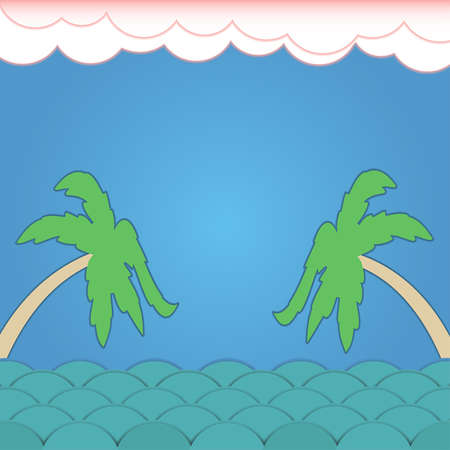 Surround-Sommer-Hintergrund mit Wellen, Wolken und Palmen Illustration